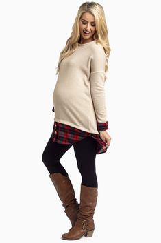 Get the preppy layered look without the hassle. This plaid shirttail maternity top does all the stylish work for you so all you have to do its style it with your favorite dark wash maternity skinny jeans and flats.