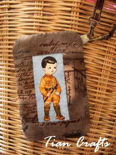 Cute retro boy cell phone bagpurse wristlet brown by Tiancrafts, $22.50