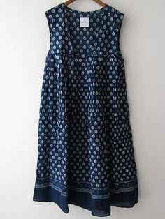 Toujours Toujours Navy Printed Cotton Dress
