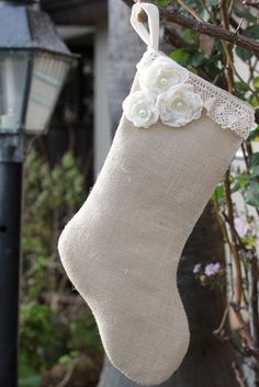 Burlap shabby chic stocking with muslin lining and burned chiffon roses.