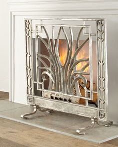 H7UAV John-Richard Collection Stylized Nickel Fireplace Screen