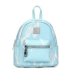 La luz azul Croc Cuero-mirada Mini Mochila con detalles decorativos - US$29.95 -YOINS