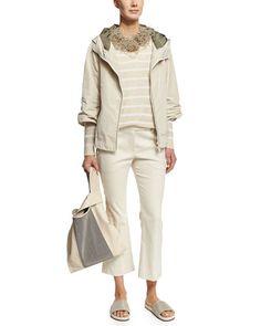 -6AA7 Brunello Cucinelli  Military Taffeta Hooded Jacket, Vanilla Striped Paillette-Embellished V-Neck Sweater, Butter/White Flare-Leg Cropped Tuxedo Pants, Butter
