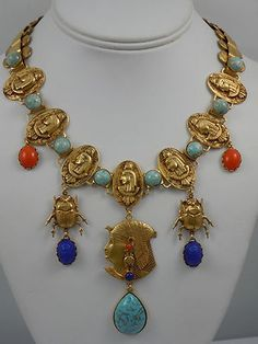 Askew London 'Egyptian Revival' Profile and Scarab Drop Necklace   eBay