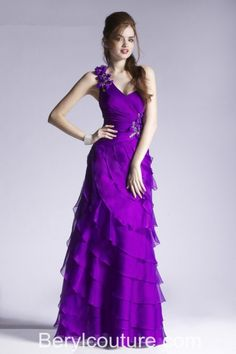 Sheath One Shoulder Strap Tiered Purple Chiffon Ruffle Long Prom Dress With Flowers