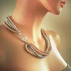 Silver Grey Champagne Cream Pearls Twisted by PearlJewelryNecklace, $72.00