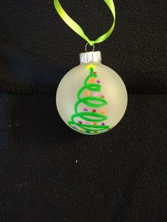 Swirling Christmas tree hand painted ornament