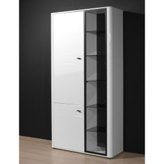 Monza Gloss White Tall Display Cabinet, 2139-84