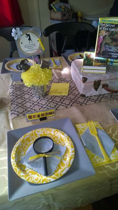 Place settings at a Nancy Drew mystery birthday party! See more party planning ideas at CatchMyParty.com!