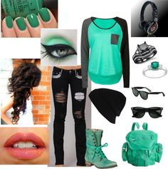 """Teal Punk"" by kat-bailey on Polyvore"