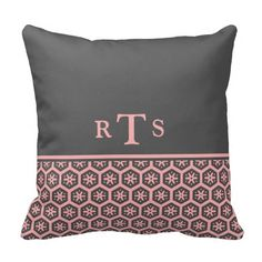 Floral Pattern Gray Pink Initials Monogram Pillows
