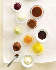 1. Caramel Sauce 2. Caramel-Cream Cheese Filling 3. Chocolate Ganache 4. Lemon Curd 5. Swiss Meringue Buttercream 6. Chocolate Buttercream 7. Apricot Jam 8. Pistachio Buttercream 9. Cream Cheese Frosting 10. Raspberry Preserves