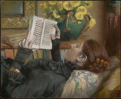 """The artist's wife (Périe, 1849-1887) reading"" by Albert Bartholomé"