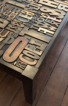 Inspiration for subway wall art made with letters instead of painted.  (might be a bit busy for a table?)