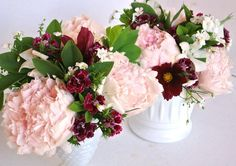 Bridesmaids bouquets with peonies, sweet william, and cosmos by Sylvia's Plant Place