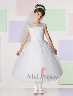 BallGown Bateau Ankle-length Tulle Flower Girl Dress with Lace
