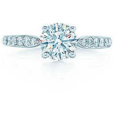 Tiffany Harmony with Bead-set Band Engagement (19,160 CAD) ❤ liked on Polyvore featuring jewelry, rings, tiffany co rings, band rings, tiffany co jewelry, band jewelry and round ring