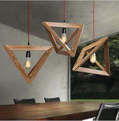 suspension Triangle bois luminaire