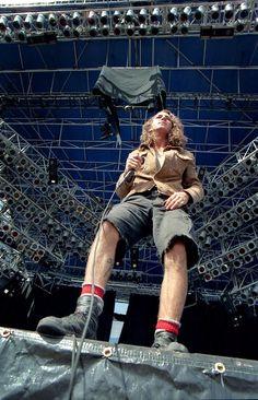 EV Pearl Jam's Eddie Vedder, Lollapalooza, Molson Park, Barrie, Ontario, Aug. 5, 1992. (Photo by Rick McGinnis)