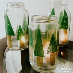 Jar Pine Tree Lanterns Christmas Gifts To Make, Mini Christmas Tree, Handmade Christmas Gifts, Christmas Lights, Christmas Crafts, Christmas Time, Christmas Ideas, Christmas Classics, Christmas Gingerbread