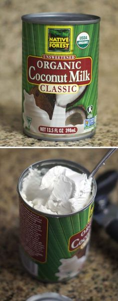 Coconut milk cream to make easy coconut whipped cream topping/frosting. yum!