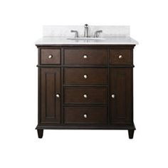 Windsor 36-Inch Walnut Vanity with Carrera White Marble top and Undermount Sink