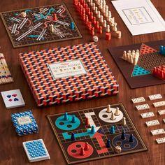 Ti klassiske spill i en og samme eske i kul retrostil Pnp Games, Backgammon, Geometric Box, Ludo, Wooden Board Games, Pick Up Sticks, Tumbling Blocks, Activity Box, Board Game Design