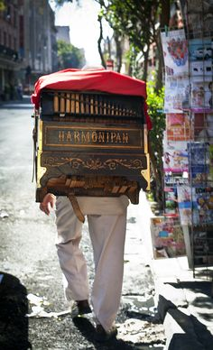 """Organillero"" (Organ player), México City. You always can find them in the Historic Center of the city, playing traditional melodies in this instrument."