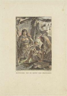 Ludwig Gottlieb Portman | Gezin in hun hut, Ludwig Gottlieb Portman, 1804 | Man en vrouw zitten met hun kind te midden van hun huisraad. Bijzonder is dat de man opmerkelijk lange nagels heeft. Ze dragen traditionele kleding.
