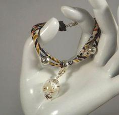 Bracelet liberty Karter, géométrie multicolore, charms globe en verre avec fleurs de pissenlit : Bracelet par long-nathalie