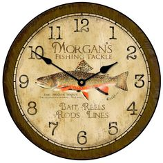 Vintage Fishing Clock. Easily customized and comes in multiple sizes! #fishing #clocks http://thebigclockstore.com/category/blog/