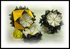 """""""MARGARIDAS"""", de Flaviane Koti - Kusudamas e Medalhão dobrados com papel Star Dream (as flores) e papel Diamond (os conectores)..."""