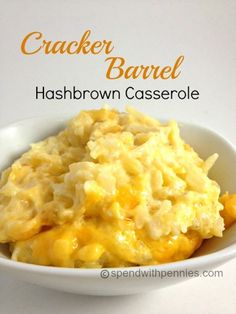 Cracker Barrel hash brown Casserole My friend passed on her version of that yummy, oh so creamy and cheesy Hashbrown Casserole. Wow… it is SO amazing! There are lots of. Hashbrown Casserole Recipe, Cracker Barrel Hashbrown Casserole, Hash Brown Casserole, Casserole Dishes, Casserole Recipes, Ham And Hashbrown Casserole, Cheesy Hashbrowns, Breakfast Desayunos, Breakfast Casserole