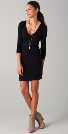 Nation LTD Alexandria Dress. Long sleeve v-neck mini dress. Love how Shopbop styled it with the booties and necklaces!