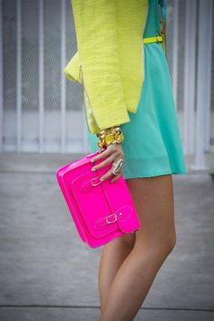 turquoise blue dress...light yellow blazer...hot pink bag...yellow belt