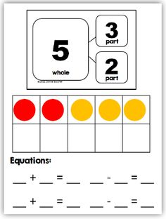 Math Coach's Corner: Number Bonds and Part/Whole Thinking. Understanding how to compose and decompose numbers to 10 is the basis for addition fact fluency. Read more and grab a couple of freebies! :) by aileen Numbers Kindergarten, Math Numbers, Decomposing Numbers, Kindergarten Addition, Math Resources, Math Activities, Printables Organizational, Math Coach, Eureka Math