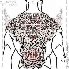 Slavic and Scandinavian tattoos Viking Tattoo Sleeve, Norse Tattoo, Viking Tattoos, Sleeve Tattoos, Viking Dragon Tattoo, Full Tattoo, Back Tattoo, Armour Tattoo, Scandinavian Tattoo