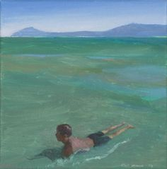 Clare Menck - Boy in Lagoon Figurative, South Africa, Paintings, Water, Artist, Paint, Gripe Water, Painting Art, Artists