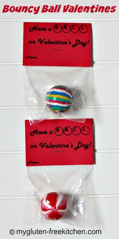 Bouncy Ball Valentines - A fun alternative to giving food or candy for class Valentines. Allergy-friendly and fun for boys or girls!