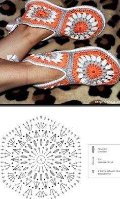 Crochet Slipper Boots, Crochet Slipper Pattern, Crochet Slippers, Crochet Diagram, Crochet Motif, Crochet Stitches, Crochet Patterns, Crochet Crafts, Crochet Projects