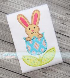 Bunny Tulip Applique|Easter Applique Design