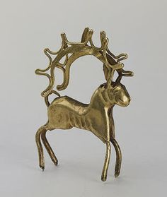 Figurine of a Deer   Gold; soldered and chased. H. 4.1 cm   5th - 4th century BC	  Siberian collection of Peter I,   Eastern Iran