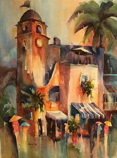 Clock Tower-Capri by Jinnie May Watercolor ~ 30 x 22