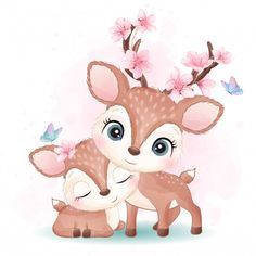 Baby Animal Drawings, Cute Drawings, Cute Animal Illustration, Watercolor Illustration, Crown Illustration, Cute Images, Cute Pictures, Watercolor Flower Background, Flower Watercolor
