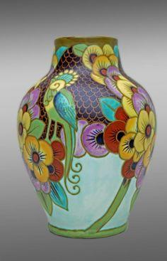 Art Déco 1925 grand Vase Perruches signé KERAMIS D1740 - faïences ...