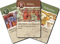 Sample muslim cards from the english version of Taifa: Intrigue and War in Medieval Spain. Middle Ages, Flags, Muslim, Board Games, Medieval, Spain, Lord, English, Design