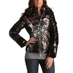 Ed Hardy Womens Skull Roses Puffer Jacket -Black only xs left off now under  Def Planet c0e6113248f