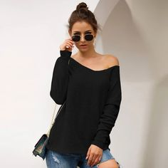 Casual Solid V-neck Long-Sleeved Sweater Top 2019 Women Sweaters – Sampeel T Shirt Crop Top, Crop Top Sweater, Long Sleeve Sweater, Loose Knit Sweaters, Casual Sweaters, Pullover Sweaters, Wool Sweaters, Cardigans For Women, Women's Cardigans