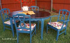 Aubusson Blue Chalk Paint dining room table makeover