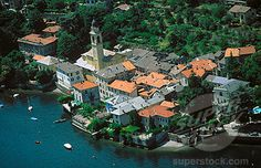 Aerial view of Laglio, in Lake Como. Lombardy, Italy